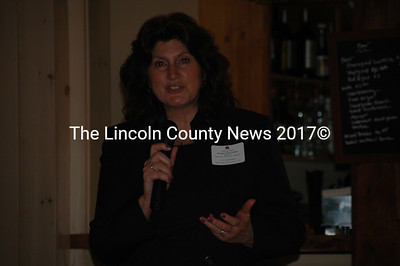 State Rep. Ellen Winchenbach, R-Waldoboro, addresses the audience after Collins' keynote speech. (J.W. Oliver photo)