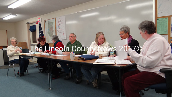 Somerville Town Clerk Ernestine Peaslee takes minutes as the Somerville Budget Committee presents its proposal for an 18-month fiscal year that will move the budget's annual start date to July 1. (Shlomit Auciello photo)