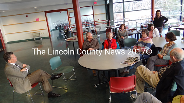 Parents meet with David Sturdevant , a candidate for head of school at Lincoln Academy. (Shlomit Auciello photo)