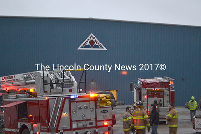 Four Lincoln County fire departments responded to a fire in the ventilation system at the Washburn & Doughty shipyard in East Boothbay on March 12. (D. Lobkowicz photo)