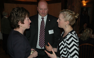 U.S. Sen. Susan Collins, R-Maine, has a conversation with Stephanie Dupal and her fiance, Lincoln County Republican Committee Chairman Stuart Smith, at the Lincoln Day dinner March 8 at The 1812 Farm. (J.W. Oliver photo)