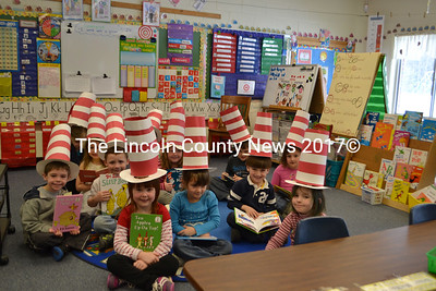 Kindergarteners in Nancy Stover's class at Dresden Elementary School made striped Cat in the Hat-style hats as part of the National Education Association's Read Across America Day. (D. Lobkowicz photo)