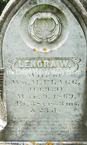 The inscription on the headstone of Lenora W. (Jones) Flagg, located in the Jones Cemetery, GR-68, in North Nobleboro. (Laurie McBurnie photo)