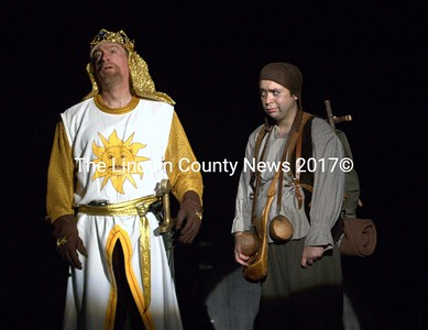 "John Adams (King Arthur) laments being ""All Alone"" as faithful sidekick Patsy (Nick Mirabile) is disgusted. (E. Busby photo)"