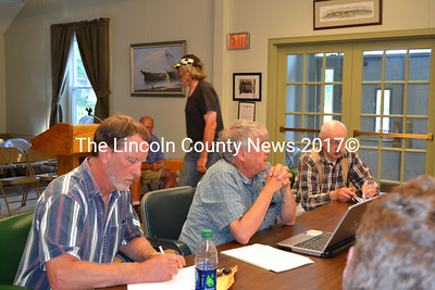 Members of Wiscasset Ordinance Review Committee present a proposed road ordinance to the board of selectmen Tuesday evening. Shown left to right, Peter McRae, Karl Olson, and Doc Schilke. (Charlotte Boynton photo)