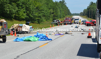A driver was killed in an accident on Route 1 in Nobleboro the morning of July 1, according to Lincoln County Sheriff Todd Brackett. The accident involved the car on the left and the red pickup on the right. (D. Lobkowicz photo)