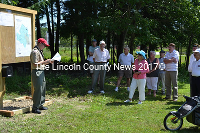 Several town officials, supporters, and family members attended the dedication ceremony for the West Woods and Morris Farm trail system; an Eagle Scout project of David Marcus. The event was held Saturday morning, July 23, on the grounds of the Wiscasset Community Center. (Charlotte Boynton photo)
