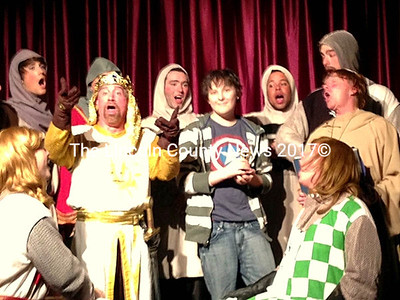 """Noah Jones was surprised by the cast of """"Spamalot"""" in their last performance Saturday night. Noah (center) was discovered to be the keeper of """"The Holy Grail"""" and was brought onstage and serenaded by the cast."""