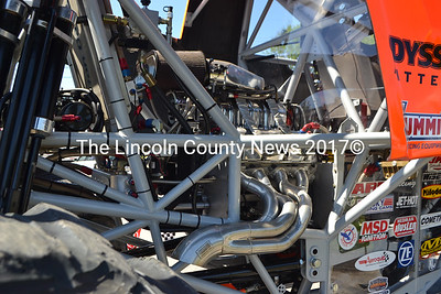 This 540 cubic-inch displacement racing engine is rated at about 1500 horsepower, according to driver Larry Swim. The Chevrolet-based engine is the first Chevrolet engine to power a Bigfoot monster truck, he said. (D. Lobkowicz photo)