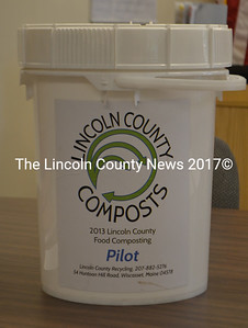 Participants in the Lincoln County Recycling pilot food composting program will receive one of these seal-able buckets to store their food material in before delivering it to the recycling plant. (D. Lobkowicz photo)