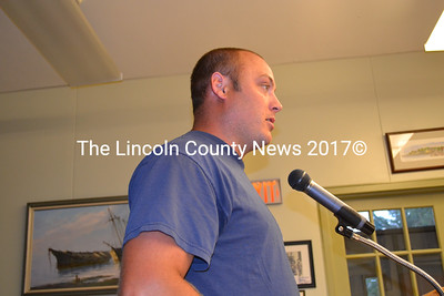 Wiscasset Fire Chief TJ Merry addresses the board of selectmen Tuesday evening. Merry said the priorities for his department are to replace the 1989 pick-up truck, and a extractor. The cost of the new pick-truck is estimated to be $30,000, and the extractor $10,000. (Charlotte Boynton photo)