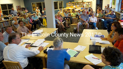 The Jefferson School Committee and members of the public listen as Alternative Organizational Structure 93 Superintendent Steve Bailey, front left, presents a final budget for fiscal year 2013-14. (Shlomit Auciello photo)