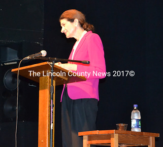 Former U.S. Senator Olympia Snowe came to Damariscotta on a leg of her national book tour, advocating ways to fix the partisanship crippling lawmakers in Washington, D.C. (K. Onorato photo)