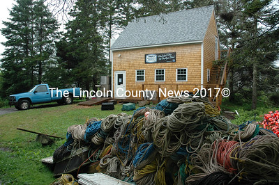 The brewery building stands at 1 Boody Ln., just down the road from where Matt Weber stacks his lobster buoys, rope and traps during the fishing offseason. (J.W. Oliver photo)