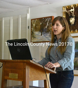 Emily Reinholt shares results of the survey she conducted of artists and art-related businesses in Lincoln County. (D. Lobkowicz photo)