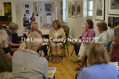 Attendees discuss ideas for the arts and culture industry in Lincoln County the morning of July 25. (D. Lobkowicz photo)