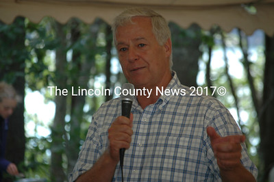 Democratic candidate for governor and 2nd Congressional District Representative Mike Michaud addresses a Lincoln County Democratic Committee fundraiser Aug. 17. (J.W. Oliver photo)