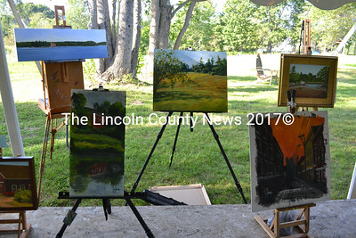 Some of the paintings created during Paint The Town event in Waldoboro on Aug. 17. (D. Lobkowicz photo)