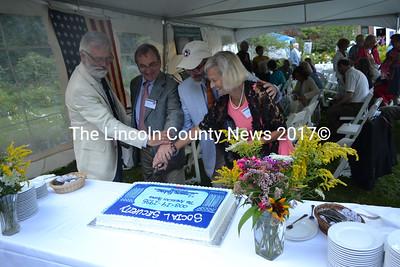 Wishing Social Security a happy 78th birthday are (from left) Sam Eliot, Charles Wyzanski, Tomlin Perkins Coggeshall and Anita Wyzanski. (K. Fletcher photo)