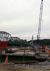 The work on the new Dresden-Richmond Bridge is progressing, Reed & Reed, Inc. of Woolwich has began placing pier three. (Kathy Onorato photo)
