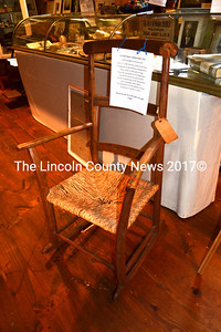 Conrad Heyer, the first son born to German immigrants who settled Waldoboro, used to own and sit in this chair. The chair is now part of an exhibit on the Heyer family at the Waldoborough Historical Society Museum. (D. Lobkowicz photo)