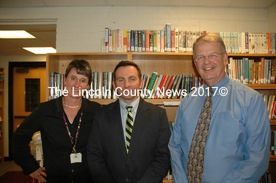 Great Salt Bay Community School Principal Kim Schaff (left) and Central Lincoln County Superintendent of Schools Steve Bailey (right) welcome new Assistant Principal Mark McDonough. (J.W. Oliver photo)