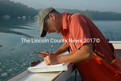 Dana Morse of Maine Sea Grant records data during a statewide green crab survey Aug. 28. (J.W. Oliver photo)