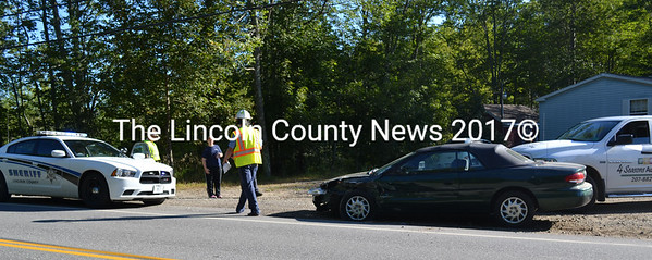A three-car accident on Route 27 in Edgecomb on Wednesday, Sept. 4 sent one person to the hospital. According to Lincoln County Sheriff Deputy Ken Mason the injuries do not appear serious.  (Kathy Onorato photo)