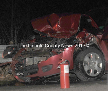 This red 2007 Kia was involved in one of two rear-end accidents which occurred in a span of five minutes Dec. 13 on Route 1 near its intersection with Old Route 1. (Paula Roberts photo)