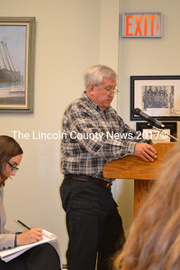 Wiscasset School Committee candidate Doug Smith asks the selectmen put an article on the annual town meeting warrant to provide funds for start up costs of the town's new stand alone school system. (Charlotte Boynton photo)
