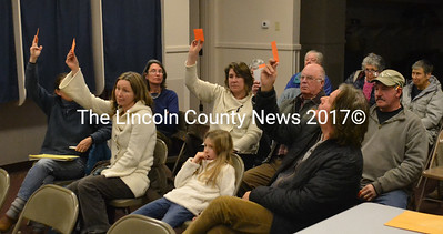 Five Bremen residents voted against funding a local match for a possible grant to develop access on the town's Hay property. (D. Lobkowicz photo)