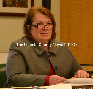 Wiscasset Town Manager Laurie Smith at a board of selectmen's meeting in March. (D. Lobkowicz photo, LCN file)