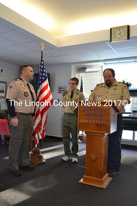Boy Scout Troop 621 hosted an Eagle Scout Court of Honor ceremony for David Marcus, (center) at the Wiscasset Community Center, Saturday, December 7. Scoutmaster Steve Lund, left, and Robert Marcus, father of the new Eagle Scout.    (Charlotte Boynton photo)