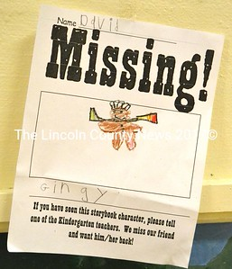 """One of the many """"missing"""" posters hung in the halls of Miller School as part of the kindergarteners' search for Gingy the Gingerbread Man. (D. Lobkowicz photo)"""