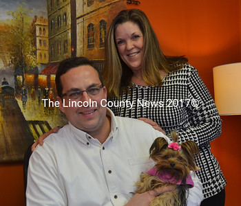 Dr. Thomas and Annee White with Surrey, the official office greeter, at The Chiropractic Office in Nobleboro. (D. Lobkowicz photo)