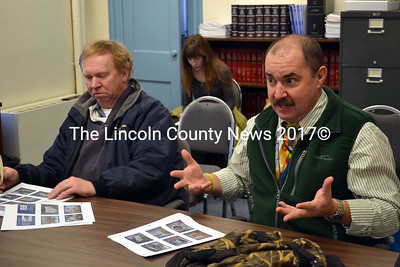 Mike Thompson, director of Lincoln County Recycling (left) and Mark King  of the Department of Environmental Protection's Sustainability Division present a plan for the expansion of the organic composting in Lincoln County. (Kathy Onorato photo)
