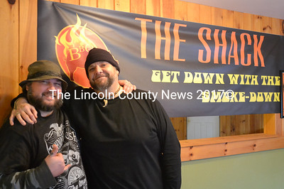 """Brothers Sean Deangelis (left) and Christopher """"Bear"""" Wiest are opening The Shack, a new barbecue in Waldoboro, Jan. 7. The restaurant's slogan will be """"Get Down with the Smoke-Down."""" (D. Lobkowicz photo)"""