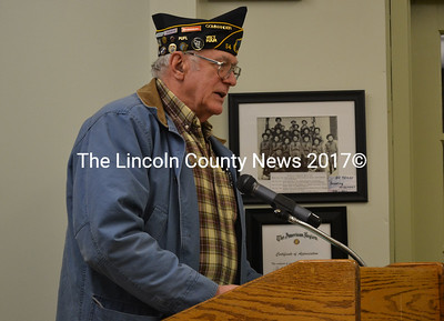 American Legion Post 54 Commander William Cossette asks selectmen to support the Legion's effort to display more flags around Wiscasset. (Kathy Onorato photo)