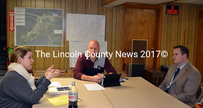 Edgecomb Selectmen (from left) Jessica Chubbuck and Stuart Smith discuss sharing code enforcement services with Boothbay's Town Manager Jim Chaousis Jan. 27. (Kathy Onorato photo)