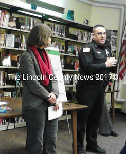 Wiscasset High School Principal Deb Taylor (left) with Wiscasset Police Chief Troy Cline have a candid discussion about drug and alcohol use by WHS students. (K. Fletcher photo)