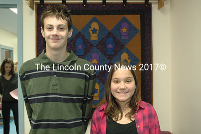 Bristol Consolidated School spelling bee runner-up Taylor Holmes (left) and champion Emily Kelsey. (J.W. Oliver photo)