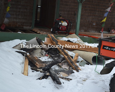 Firefighters pulled this debris out of a home at 151 Hallowell Road in Jefferson after an accidental fire Jan. 27. (D. Lobkowicz photo)