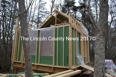 A side view of the energy efficient tiny house being constructed by Linda Murray. She is currently living in a 8- by 16-foot space in the house. (Charlotte Boynton photo)