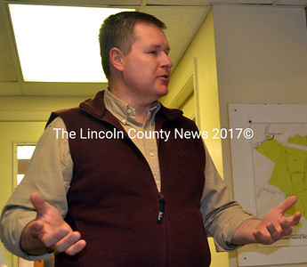 Michael Tomko, chairman of a steering committee working to create a regional branding project, asks Edgecomb selectmen for support of the project April 7. (Kathy Onorato photo)