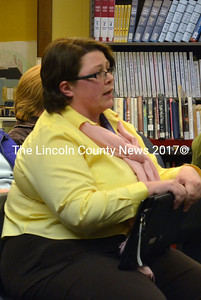 Wiscasset Adult & Community Education Director Anne Fensie makes her budget plea before the Wiscasset School Board April 3. (Kathy Onorato photo)