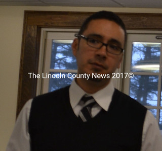 Regional School Unit 2 Superintendent Virgil Hammonds attends the Dresden Selectmen's meeting Monday evening to explain the need for a $1.5 million bond project for capital improvements to the schools within the district. (Charlotte Boynton photo)