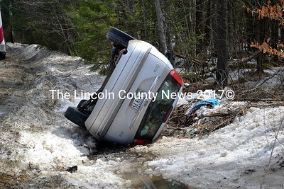 The Lincoln County Sheriff's Office is looking for the driver of this Ford Focus, who left the scene of an accident on the Calls Hill Road in Dresden April 7. (Kathy Onorato photo)