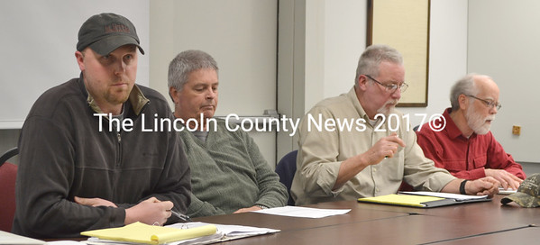 """Nobleboro Planning Board (from left): Chair Jacob Oliver, Code Enforcement Officer Stanley Waltz, Selectman Walter """"Al"""" Lewis, and Selectman Harold """"Bud"""" Lewis meet with the public April 8 to discuss a proposed property maintenance ordinance . (D. Lobkowicz photo)"""