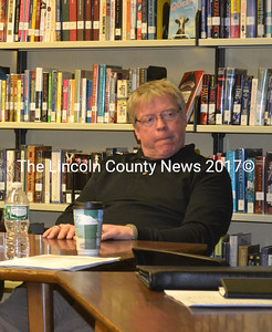 Wiscasset School Board Chairman Glen Craig holds his tongue, while fellow board member Sharon Nichols takes issue with comments he made during the April 3 board meeting. (Kathy Onorato photo