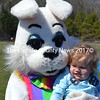 Little Dykenn Howard gets a hug from the Easter bunny during Wiscasset's Easter egg hunt Saturday, April 10. (Kathy Onorato photo)